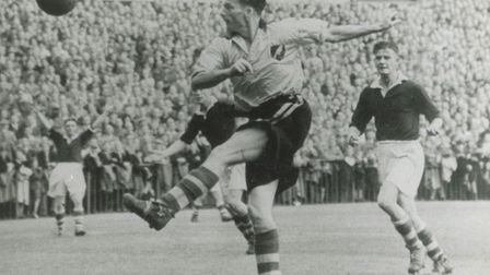 Les Eyre in action during a 7-2 win over Brighton at Carrow Road in the FA Cup in November 1946 - in