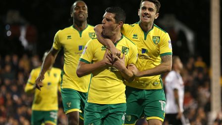 Graham Dorrans celebrates giving Norwich City the lead from the penalty spot. Picture: Paul Chestert