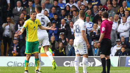 Graham Dorrans pleads his innocence while on Norwich City duty at Leeds towards the end of last seas