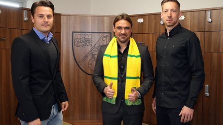 Norwich City head coach Daniel Farke and his assistant Edmund Riemer (pictured left) welcome new hea