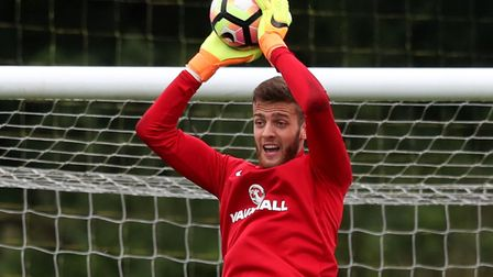 Angus Gunn in training with England's Under-21 squad at St George's Park. Picture: PA