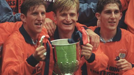 Peter Mendham, centre, celebrating Diss Town's FA Vase win at Wembley in 1994. Picture: Archant