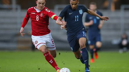 Jacob Murphy in action for England U21s against Denmark in March. Picture: by Steve Bardens/Getty Im