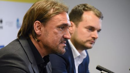 New Norwich City head coach Daniel Farke (left) with sporting director Stuart Webber. Picture: Denis