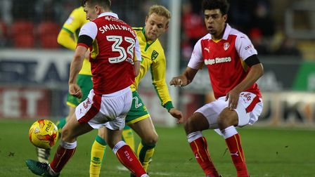 Tom Adeyemi, right, has been linked with Norwich City already and has been released by Cardiff. Pict