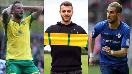 In the news at Norwich City this week, from left, Mitchell Dijks, Angus Gunn and Mario Vrancic. Pict