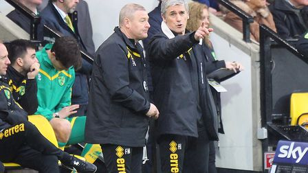 Alan Irvine (right) during his time as interim head coach at Norwich City, alongside Frankie McAvoy.