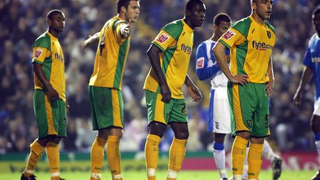 Jason Shackell (arms out) organises the Norwich City troops at Birmingham back in 2006.