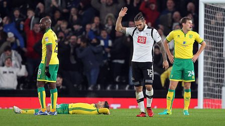 Bradley Johnson eases up on the celebration after scoring against his former club at the Ipro Stadiu