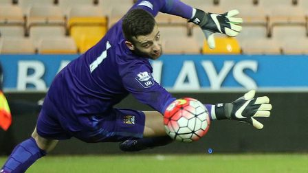 Angus Gunn in action for Manchester City U21s at Carrow Road in February 2015. Picture: Jasonpix