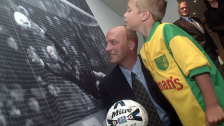 Bryan Gunn with son Angus at the opening of the Gunn Club at Carrow Road in August 2000. Picture: Ar