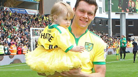 Jonny Howson during the lap of appreciation on the final day of last season at Carrow Road, followin