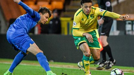 Norwich City winger Jamal Lewis, right, made his Northern Ireland U21 debut in Estonia. Picture by M