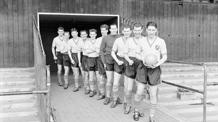 Barry Butler, left, and team-mates from the team which played Luton in the 59ers FA Cup run, from ri