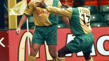 NCH CITY V. NOTTINGHAM FOREST.; SCORER DARYL SUTCH IS CONGRATULATED BY ADRIAN FORBES.