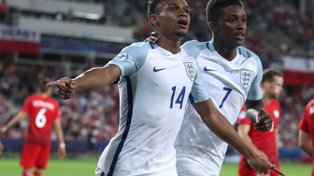 Jacob Murphy celebrates putting England U21s 2-0 up against Poland in Kielce. Picture: Nick Potts/PA