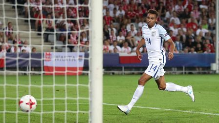 Norwich City's Jacob Murphy puts England U21s 2-0 up against Poland in Kielce on Thursday. Picture:
