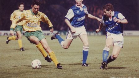 Ian Culverhouse, dated 21st December 1992, during a 2-0 defeat to Ipswich at Carrow Road. Photo: Arc