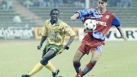 City's Ruel Fox in action against Bayern Munich in 1993. Photo: Archant Library