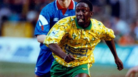 Ruel Fox in action against Oldham, marked by a future Canary, Craig Fleming. Picture: Archant Librar
