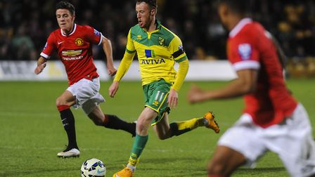 Sam Kelly on the ball for Norwich City U21s against Manchester United U21s at Carrow Road in 2015. P