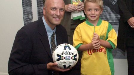 Bryan Gunn with son Angus in August 2000, aged four, at the opening of the Gunn Club at Carrow Road.