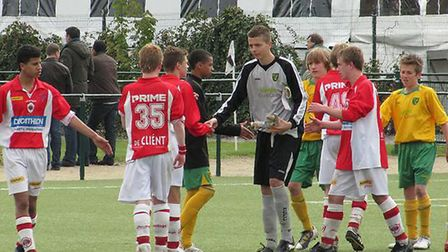 Angus Gunn in action for Norwich City's Under-15 squad in Belgium. May 2010.