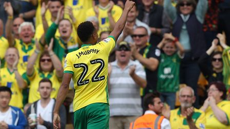 Jacob Murphy helps secure victory over Burton Albion at Carrow Road back in September. Picture: Paul