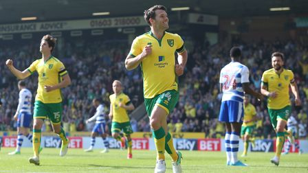 Wes Hoolahan celebrates scoring against Reading in Norwich City's 7-1 victory at Carrow Road last se