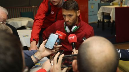 Wes Hoolahan speaks to the press after Norwich City's 5-0 win at Cobh Ramblers. Picture: Lorraine O'