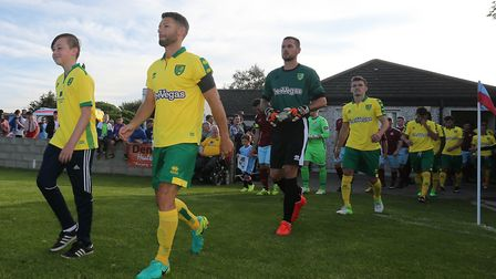 Wes Hoolahan leads out Norwich City as captain in Ireland. Picture: Lorraine O'Sullivan/Focus Images