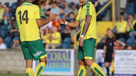 James Maddison, right, celebrates his free-kick making it 4-0 for Norwich City at Cobh Ramblers, wit
