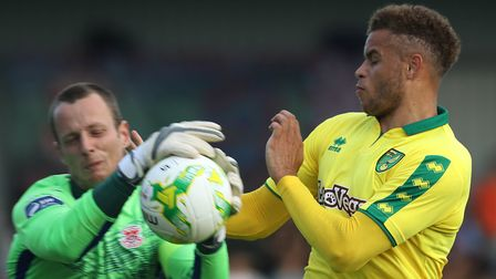 Carlton Morris was one of nine second-half changes for Norwich City at St Colman's Park. Picture: Lo