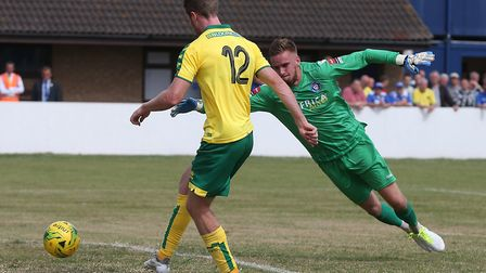 Marley Watkins of Norwich scores his side's third goal during the Pre-season Friendly match at Crown