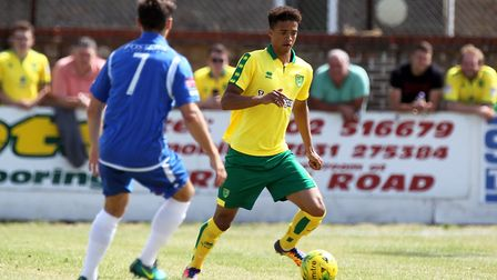 Jamal Lewis looked lively for Norwich against Lowestoft. Picture by Paul Chesterton/Focus Images Ltd