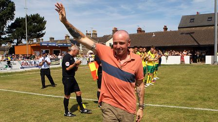 Departing Lowestoft Manager waves to the home fans for the last time before during the Pre-season Fr