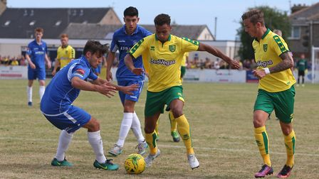 Josh Murphy of Norwich in action during the Pre-season Friendly match at Crown Meadow, LowestoftPict