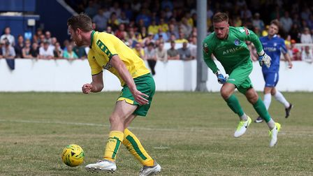 Marley Watkins of Norwich scores his sides 3rd goal during the Pre-season Friendly match at Crown Me