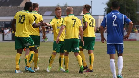 Steven Naismith of Norwich celebrates scoring his sides 2nd goal during the Pre-season Friendly matc