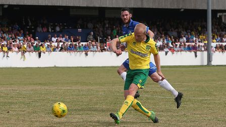 Steven Naismith of Norwich scores his sides 2nd goal during the Pre-season Friendly match at Crown M