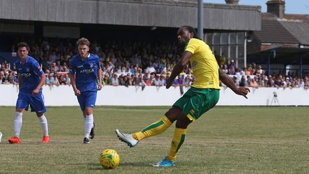 Cameron Jerome of Norwich scores his sides equalising goal from the penalty spot during the Pre-seas