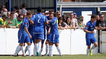 Travis Cole of Lowestoft Town celebrates scoring his sides 1st goal during the Pre-season Friendly m