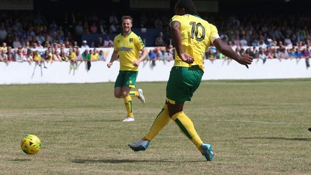 Cameron Jerome of Norwich has a shot on goal during the Pre-season Friendly match at Crown Meadow, L
