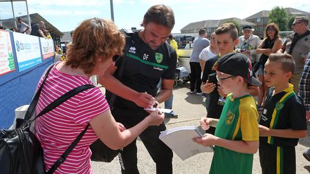 Norwich Manager Daniel Farke meets the fans and signs autographs before the Pre-season Friendly matc