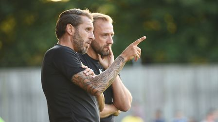 King's Lynn Town v Norwich City at The Walks. Pictured are NCFC duo Darren Huckerby and (R) Matt Gil