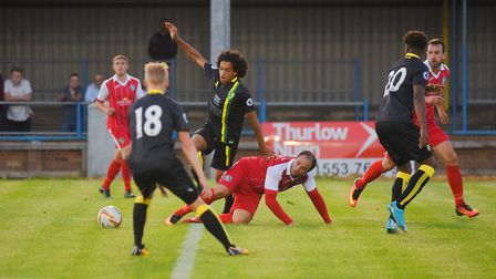 King's Lynn Town v Norwich City at The Walks. Sam Gaughran was penalised for this foul on NCFC's Bil