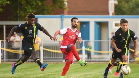 King's Lynn Town v Norwich City at The Walks - Pierre Xavier Fonkeu, left, on the attack for City. P