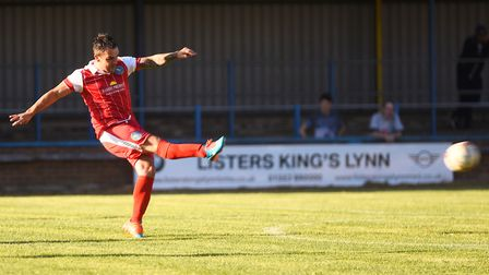 King's Lynn Town v Norwich City at The Walks. Leon Mettam blasted home Lynn's first half goal with a