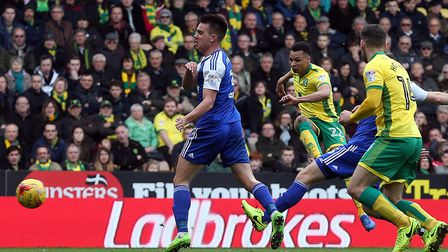 Jacob Murphy scored the equaliser in City's 1-1 draw with Ipswich at Carrow Road last season. Pictur
