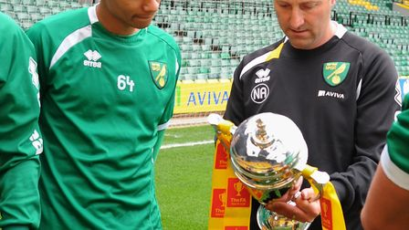 Neil Adams, and Jacob Murphy with the FA Youth Cup in 2013. Picture: Denise Bradley